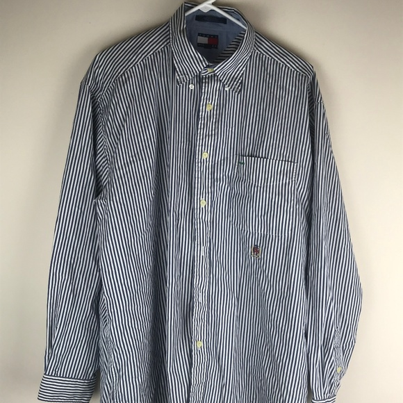 Tommy Hilfiger Other - Tommy Hilfiger Mens Blue and White Striped Long Sl